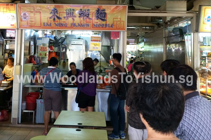 Lai Xing Prawn Noodle Stall at Marsiling Lane Hawker Centre, Woodlands