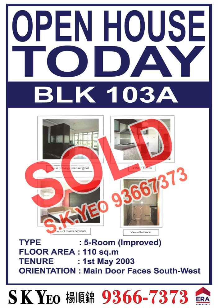 Punggol HDB 5'I' Blk 103A Sold by Property Agent S.K.Yeo ERA