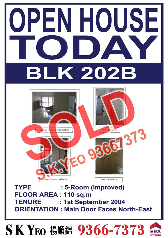 Punggol HDB 5'I' Blk 202B Sold by Property Agent S.K.Yeo ERA