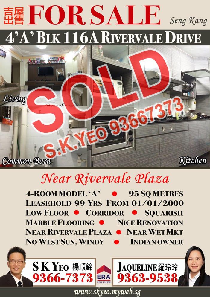 Seng Kang HDB 4'A' Blk 116A Sold by Property Agent S.K.Yeo ERA