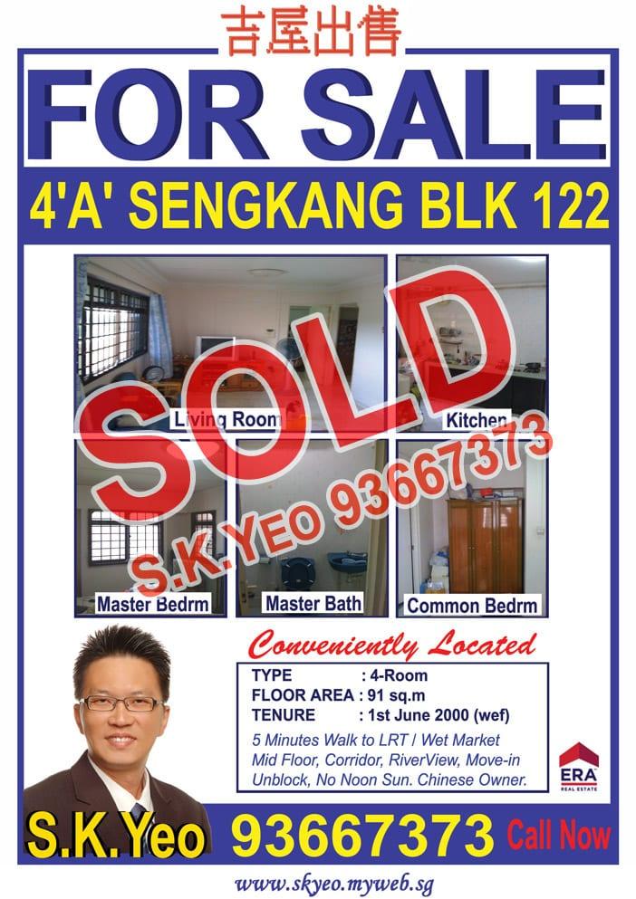 Seng Kang HDB 4'A' Blk 122 Sold by Property Agent S.K.Yeo ERA