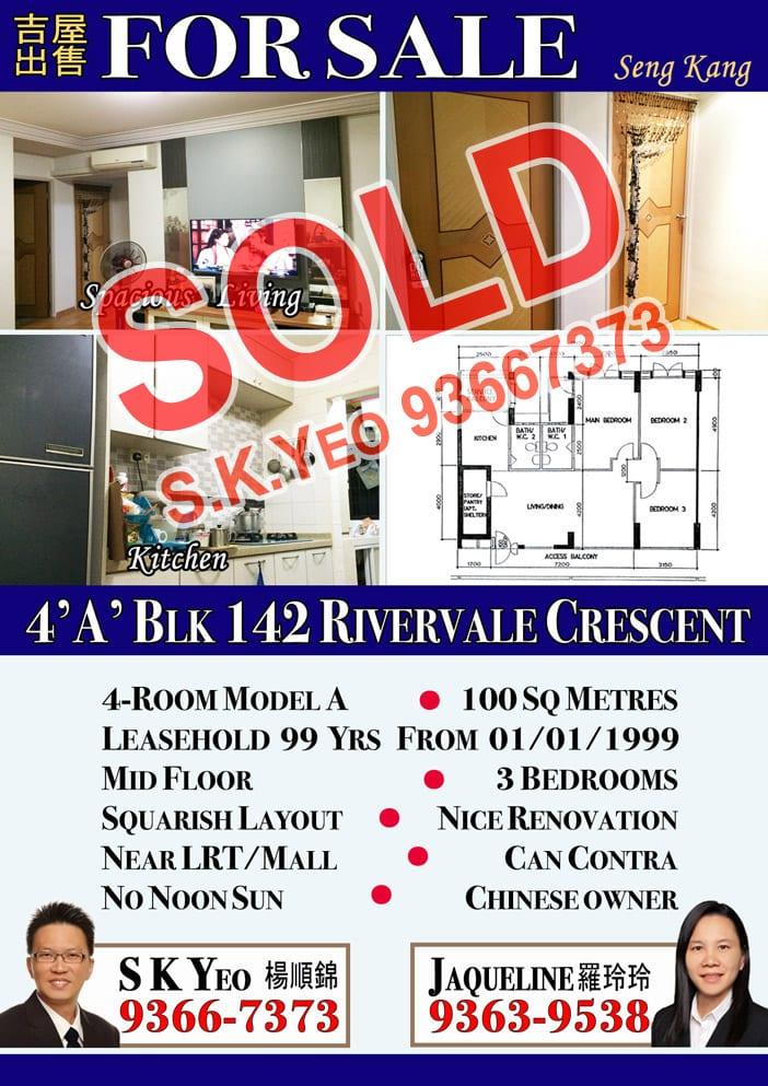 Seng Kang HDB 4'A' Blk 142 Sold by Property Agent S.K.Yeo ERA