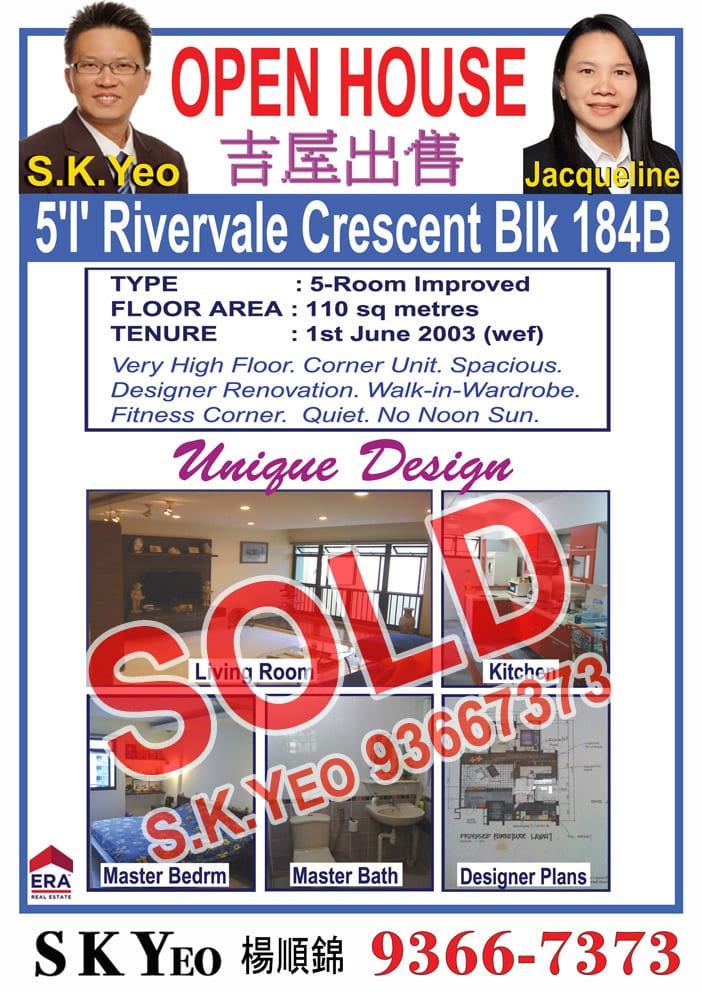 Seng Kang HDB 5'I' Blk 184B Sold by Property Agent S.K.Yeo ERA
