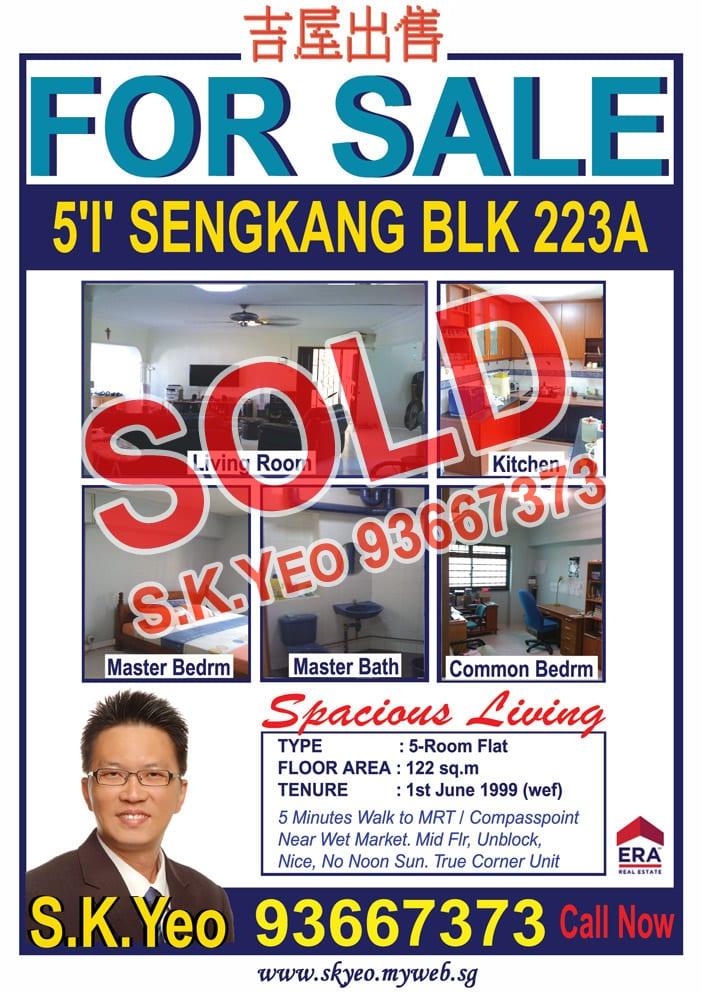 Seng Kang HDB 5'I' Blk 223A Sold by Property Agent S.K.Yeo ERA