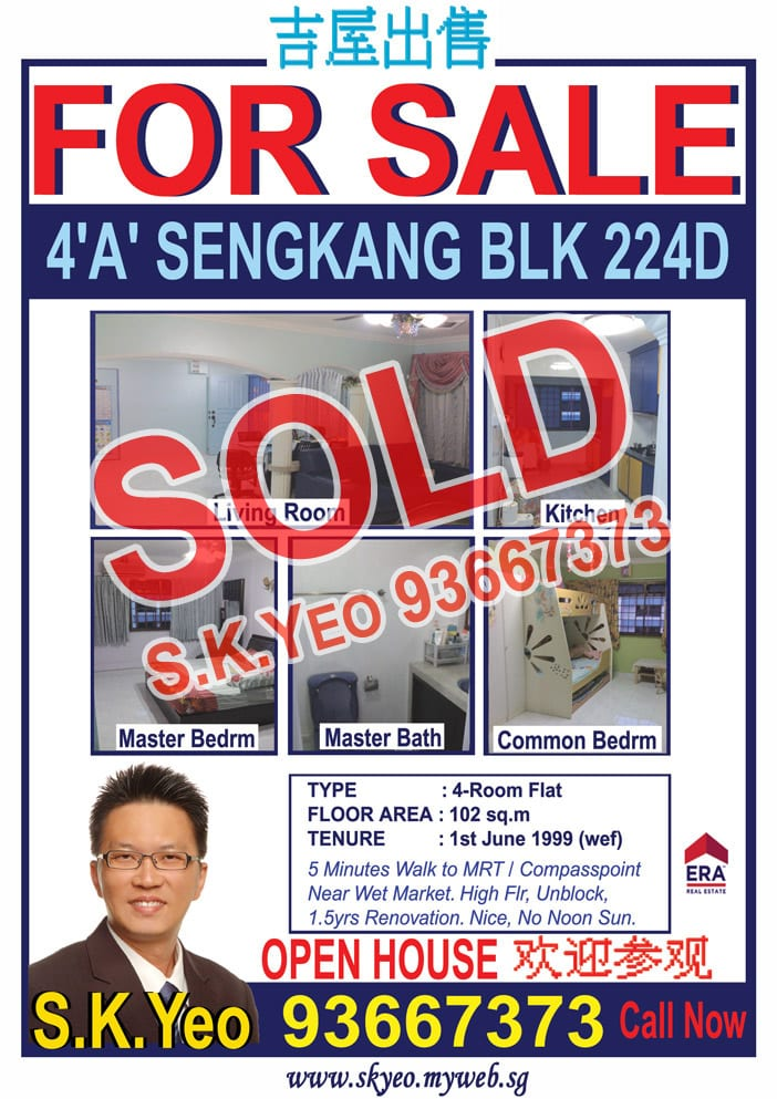 Seng Kang HDB 4'A' Blk 224D Sold by Property Agent S.K.Yeo ERA