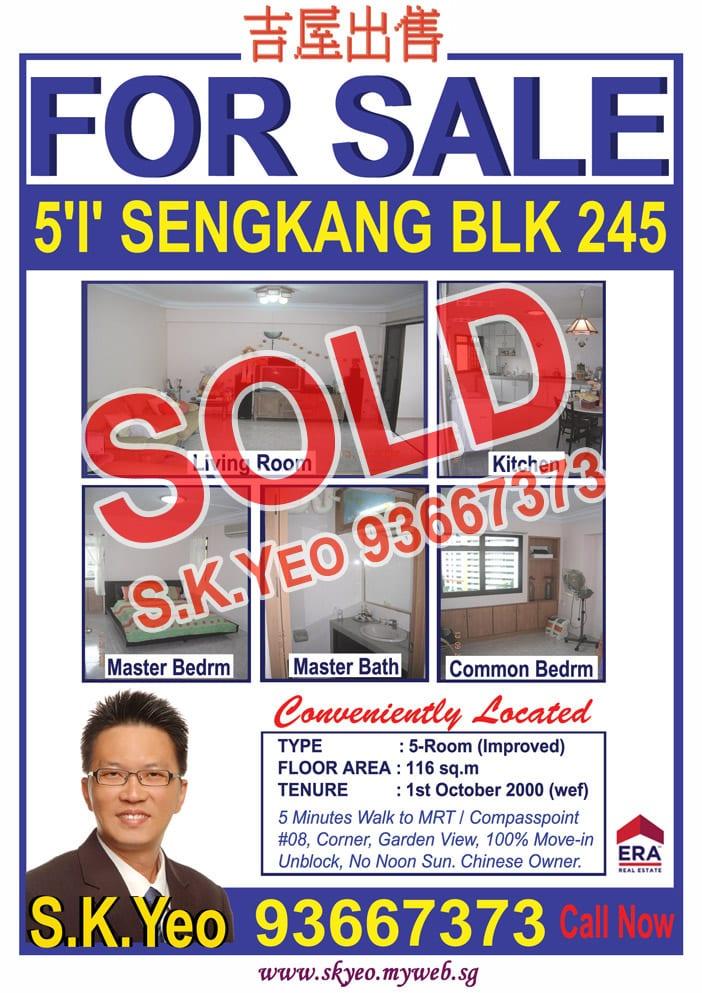 Seng Kang HDB 5'I' Blk 245 Sold by Property Agent S.K.Yeo ERA