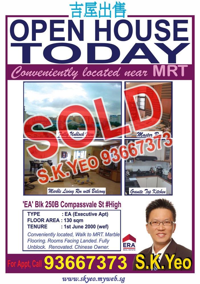 Seng Kang HDB 'EA' Blk 250B Sold by Property Agent S.K.Yeo ERA