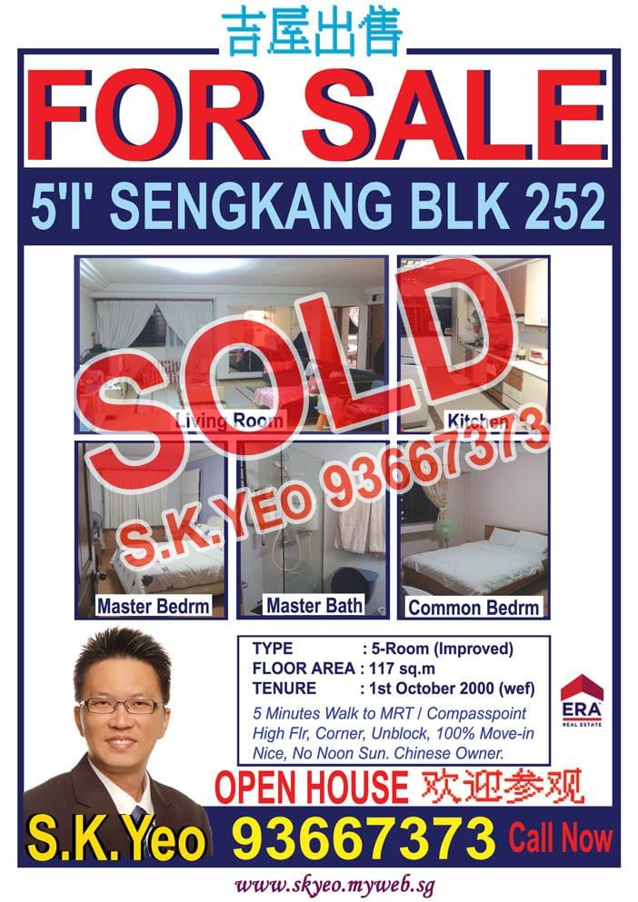 Seng Kang HDB 5'I' Blk 252 Sold by Property Agent S.K.Yeo ERA