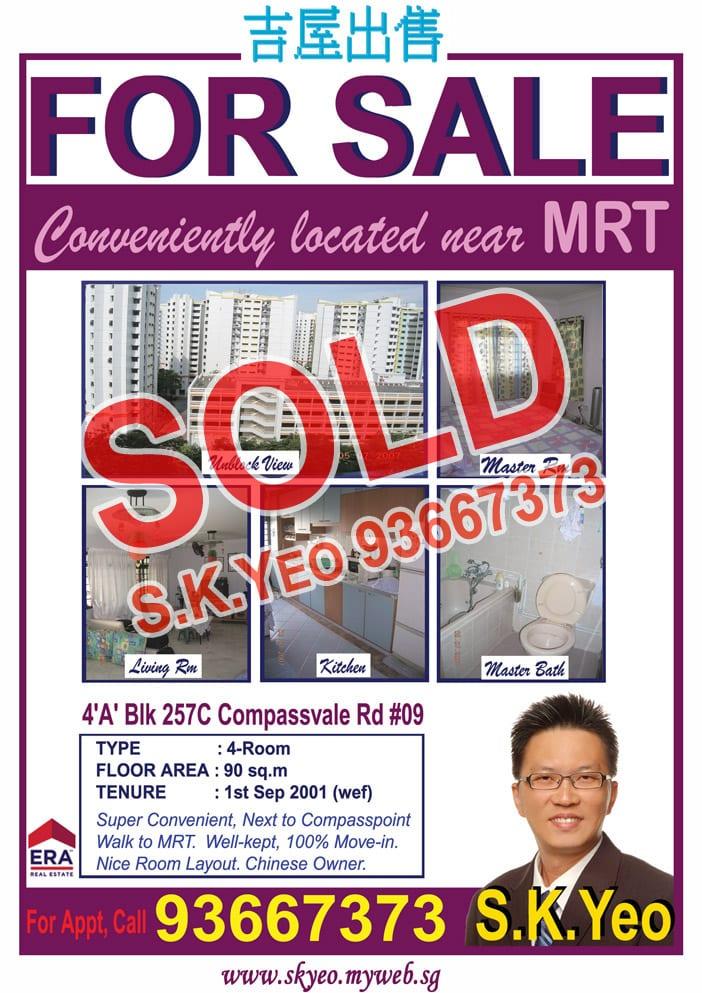 Seng Kang HDB 4'A' Blk 257C Sold by Property Agent S.K.Yeo ERA