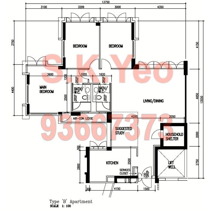 SengKang HDB 5'I' Blk 269D Compassvale Link Floor plan