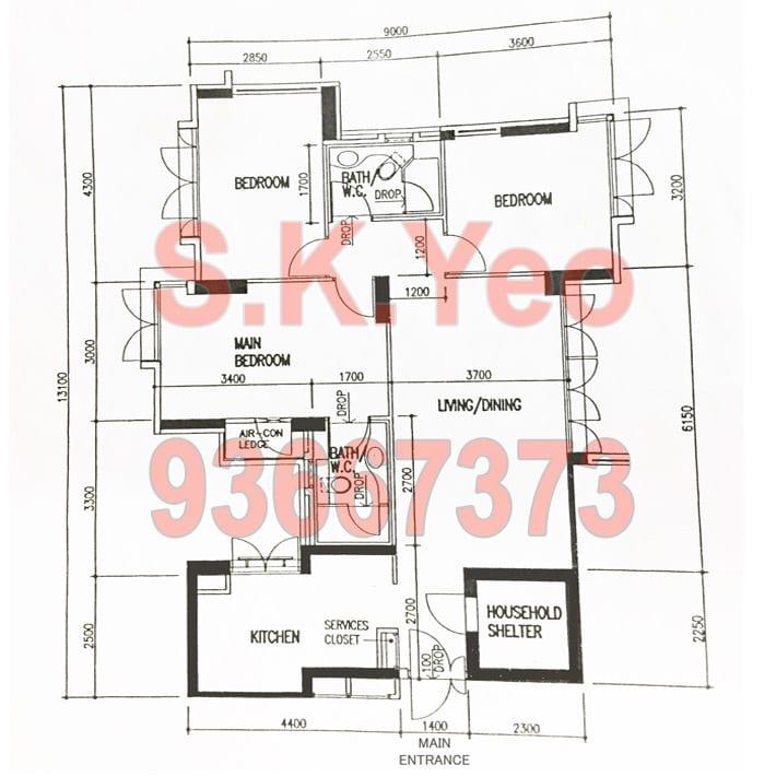 SengKang HDB 4'A' Blk 269C Compassvale Link Floor Plan