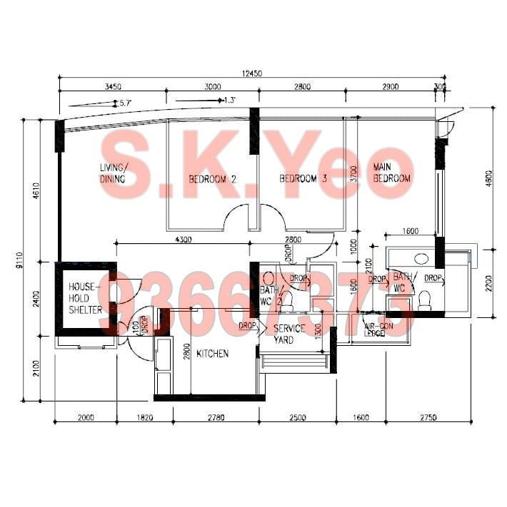 SengKang HDB 4'A' Blk 273D Compassvale Link Floor Plan