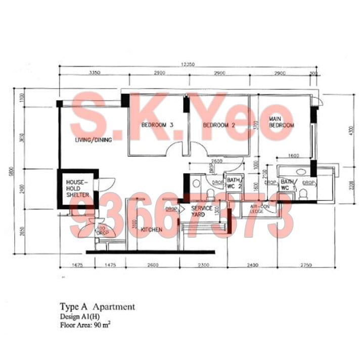 SengKang HDB 4'A' Blk 273D Compassvale Link Floorplan