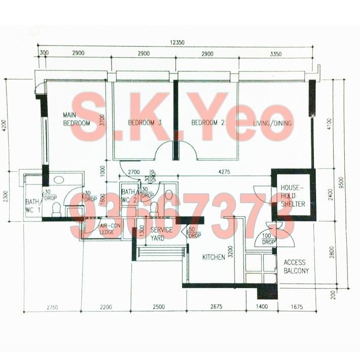 SengKang HDB 4'A' Blk 277C Compassvale Link Floor plan