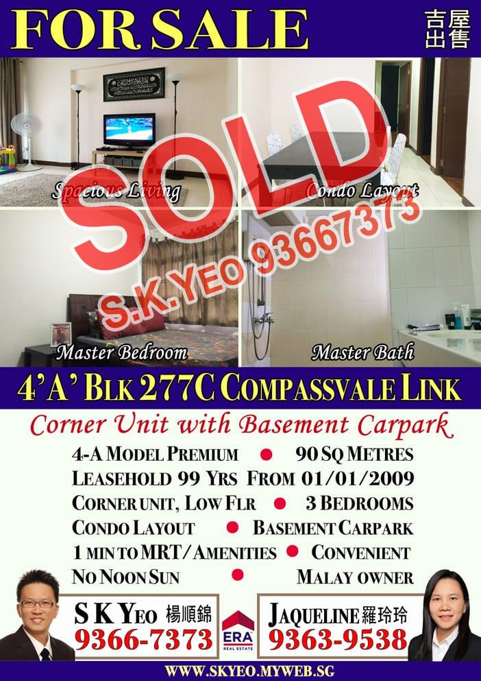 Seng Kang HDB 4'A' Blk 277C Sold by Property Agent S.K.Yeo ERA