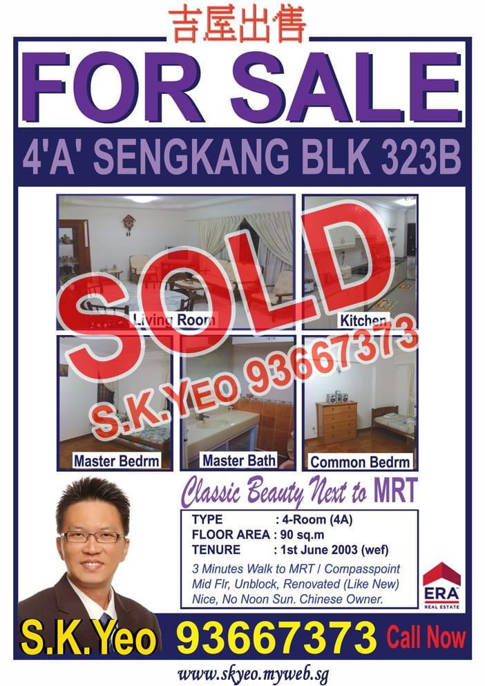 Seng Kang HDB 4'A' Blk 323B Sold by Property Agent S.K.Yeo ERA