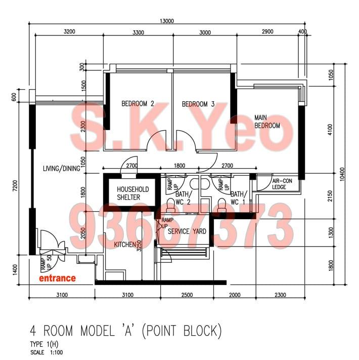 SengKang HDB 4'A' Blk 441A Fernvale Road Floor Plan