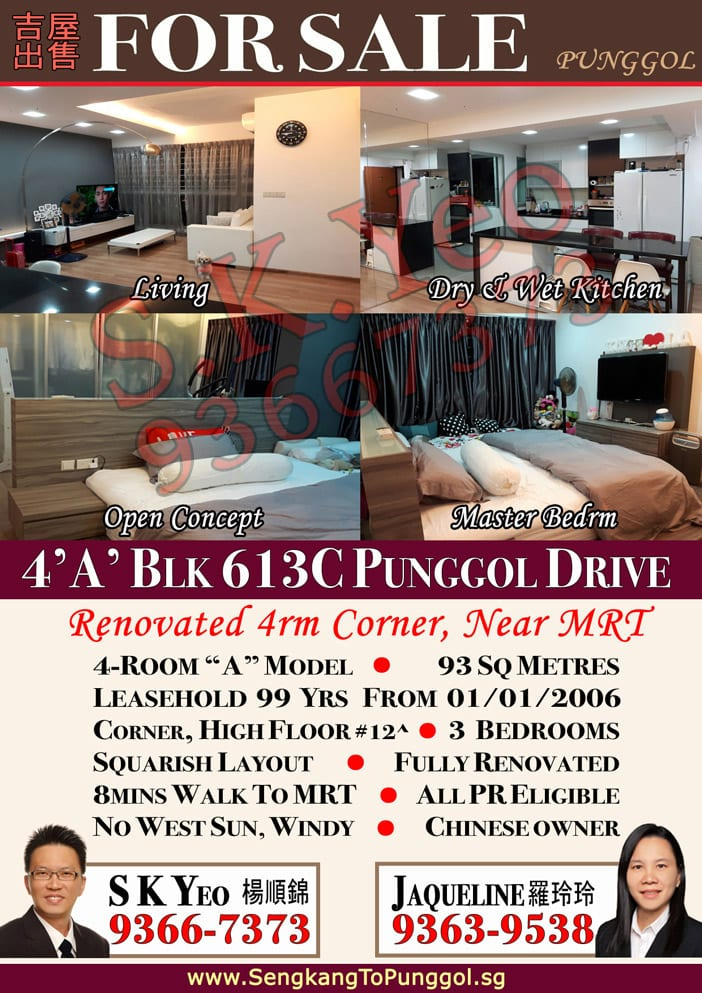 Punggol HDB 4'A' Blk 613C Punggol Drive by Property Agent S.K.Yeo ERA