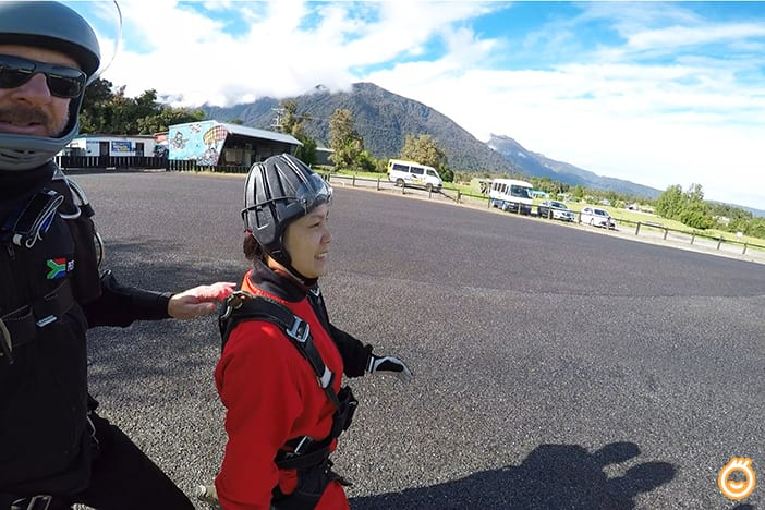Jacqueline at Skydive base on runways