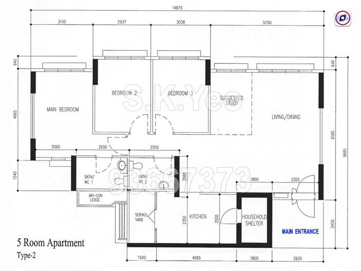 Floorplan-Sengkang-Compassvale-Dr-5-room-flat-216A-near-MRT